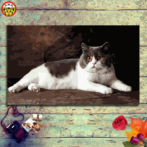 Cat Picture Drawing Coloring By Numbers On Canvas Diy Digital Oil Painting Kits Hand-painted Home Decoration Artwork