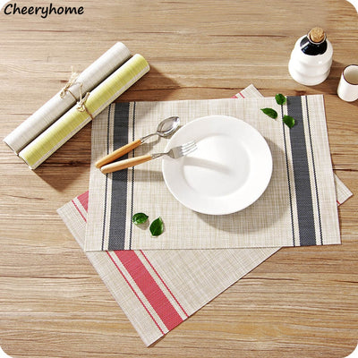 Cheeryhome Placemat PVC Dining Table Mat 4 Pcs/lot Disc Pads Bowl Pad Coasters Waterproof Table Cloth Anti-slip Tableware Mat