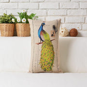 Chinese Simple Art Peacock Printed Pillowcase Southeast Style Village Square Cushion Decorative Pillow Home Decor Throw Pillow