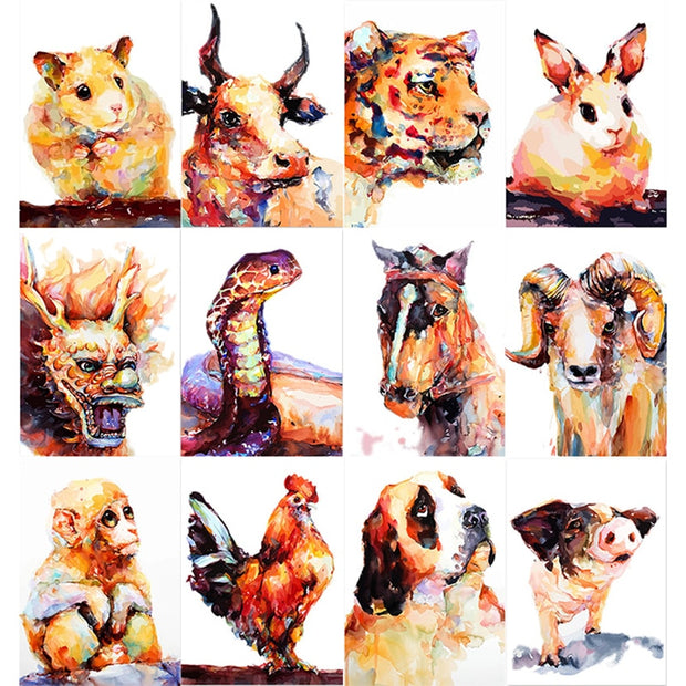 Chinese Zodiac Animal Abstract Watercolor Acrylic Diy Digital Oil Painting By Numbers Drawing Hand Painted Picture Wall Decor