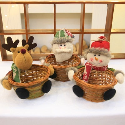 Christmas Candy Storage Basket Decoration Santa Claus Storage Basket Gift Christmas Decorations For Home 1PC