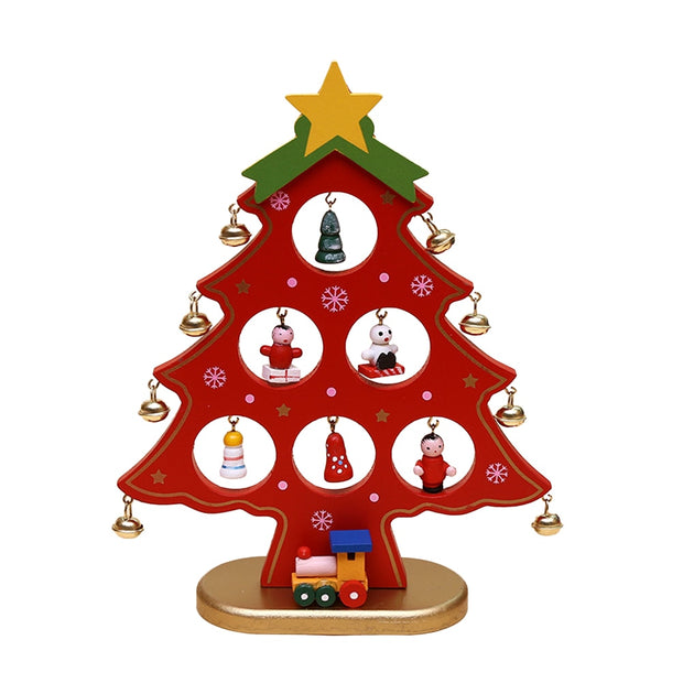 Christmas Decorative Wooden Mini Christmas Tree Desktop Decoration Ornaments Kids Gift Home Party Kindergarten Decor