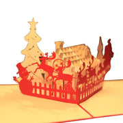 Christmas House 3D Pop Up Greeting Card Handmade Birthday Wedding Invitation Art