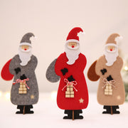 Christmas Ornaments Felt Cloth Christmas Dolls Standing Figurine Kids Christmas Gifts Toy (Grey)