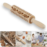 Christmas Rolling Pin Engraved Carved Wood Embossed Rolling Pin Kitchen Tool Hot Sale