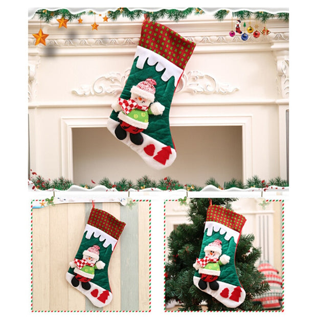 Christmas Santa Claus Snowman Stocking Candy Bags Xmas Socks Treat Gift Bags Pocket For Christmas Gift Party Decor