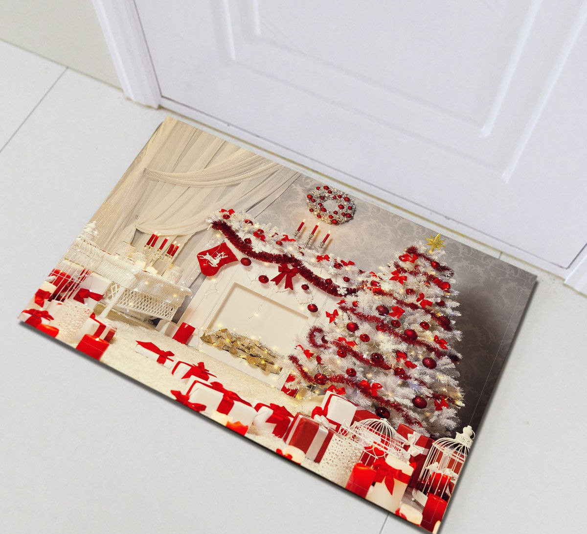 Christmas Tree Shower Curtains Anti Slip Waterproof Polyester Fabric Bath Curtain Bath Mat With 12 Hooks For Bathroom Curtains