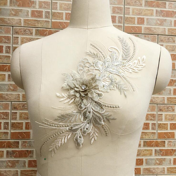 Cindylaceshow 1PC Multi 3D Flower With Rhinestones Lace Trim Wedding Fabric For Costume Dress Decor Sewing Lace Appliques Crafts