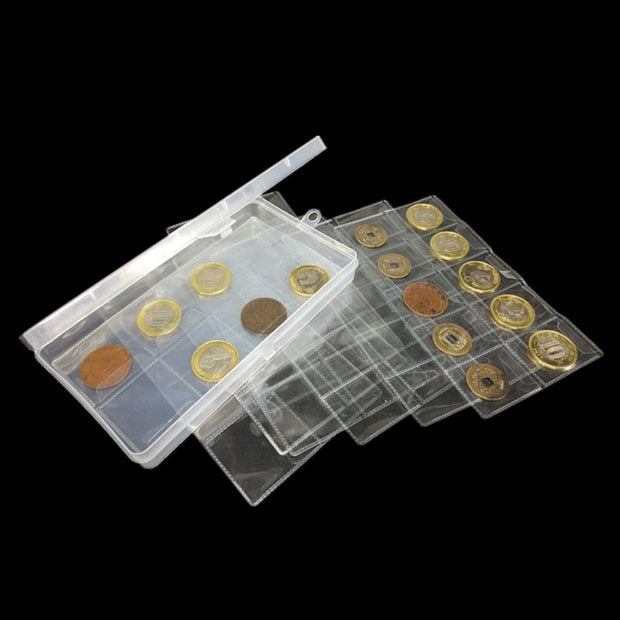 Clear PVC Plastic Coin Bag Protective Case Storage Cover Holder With Storage Box