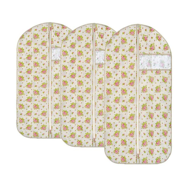 Clothes Dust Cover Suit Dustproof Storage Bag Garment Organizer Protector Size M (Beige Floral)