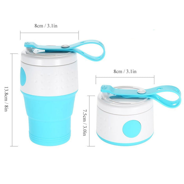 Coffee Cup,Portable BPA-Free Silicone Folding Cup With Seal Dustproof Lid Outdoor Travel Cups Retractable Mini Water Cup