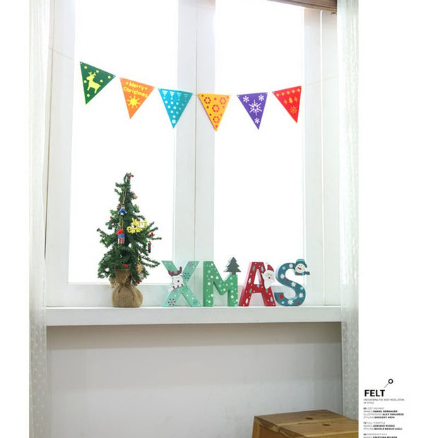 Colorful Pennant Christmas Banner Triangle Flags Felt Bunting Garland Banner Decoration For Kids Room Holiday