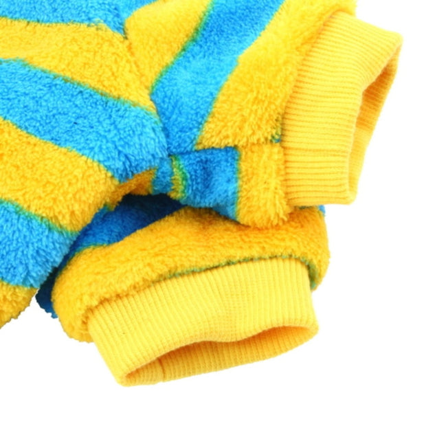 Coral Fleece Pet Puppy Dog Cat Clothes Apparel Stripe T Shirt Jacket Coat Winter Autumn Pet Dog Puppy Sweater Pets Clothing