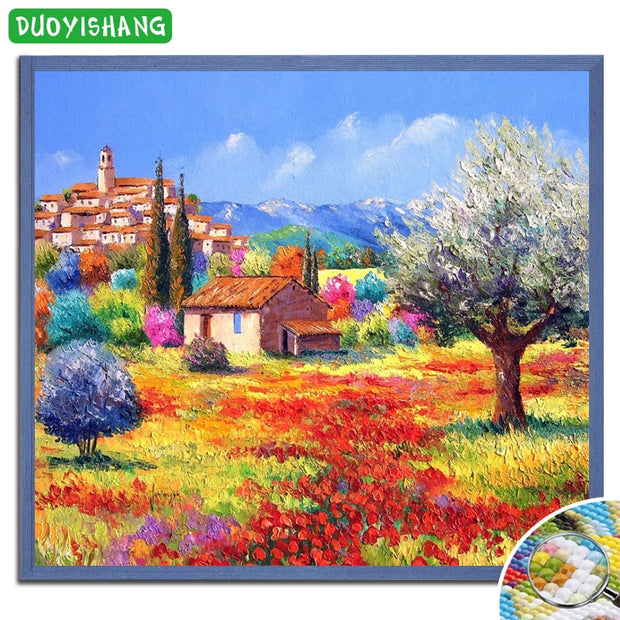 Country House DIY Diamond Painting Scenery Flowers Full Square Diamond Embroidery Landscape Tree Mosaic Rhinestones Paintings