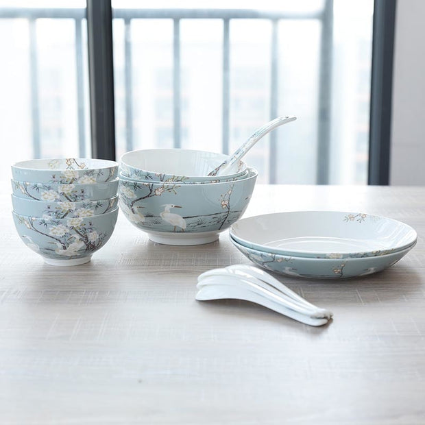 Crane Pattern Ceramic Fine Bone China Rice Bowls Soup Noodles Large Bowls For Household Exquisite Tableware Spoon Big Spoon Gift