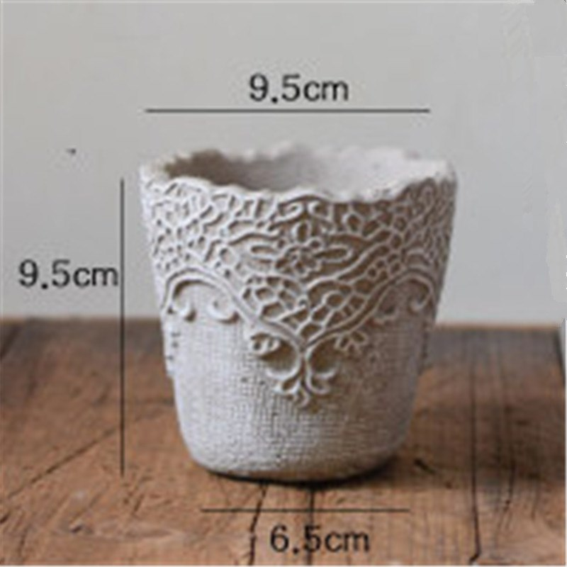 Creative Lace Flower Pot Making Concrete Molds Garden Decorating Cement  Planter Silicone Mold