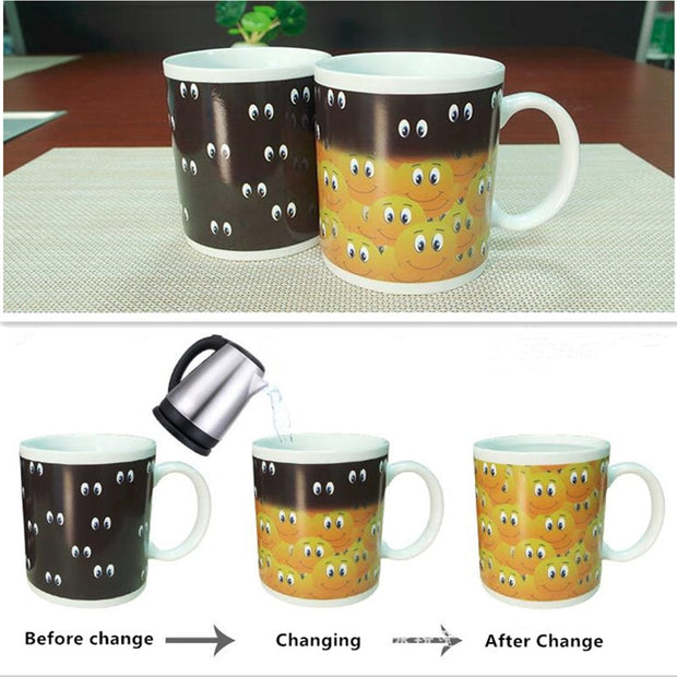 Creative Magic Mug Temperature Changing Cup Color Changing Chameleon Mugs Heat Sensitive Coffee Tea Milk Cups Novelty Gifts