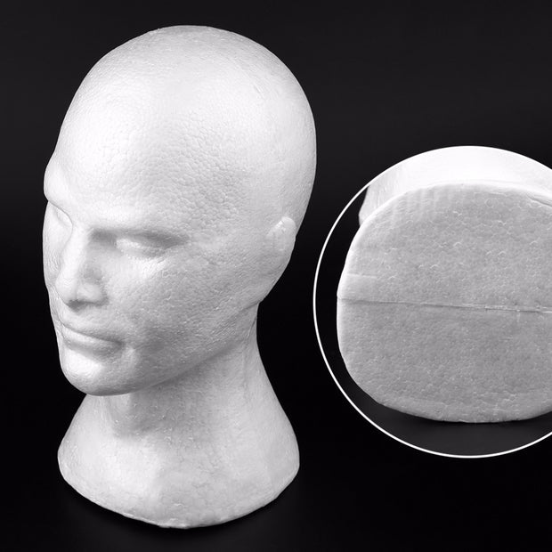 Creative Male Smooth Mannequin Head Model Wig Hat Glasses Caps Display Stand Bubble Foam Head With Ears Drop Shipping
