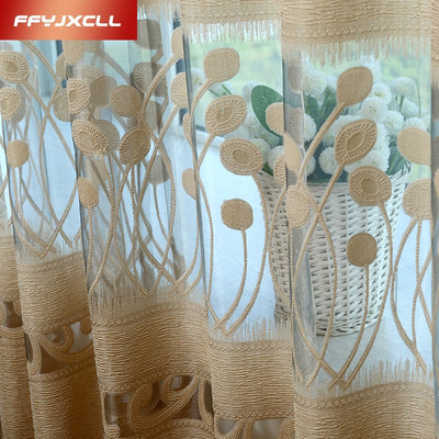 Custom Embroidered Translucidus Tulle Curtains For Living Room Window Curtains For Bedroom Kitchen Modern Sheer Voile Drapes