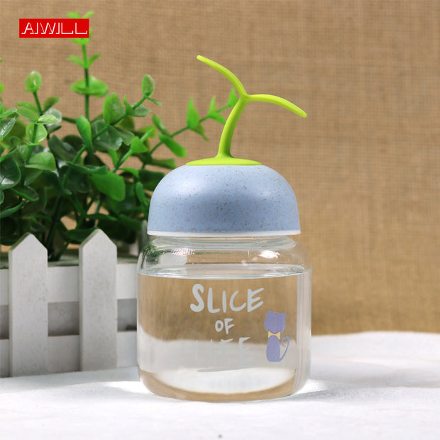 Cute AIWILL New Glass Water Bottle Drinking Bottle For Water Creative Drinkware Kids Girl Juice Milk Bottles Coffee Tea Tumbler