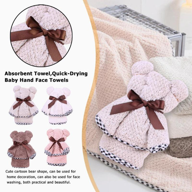 Cute Bear Shape Soft Super Absorbent Towel Quick-Drying Baby Kids Hand Face Wipe Towels Handkerchief