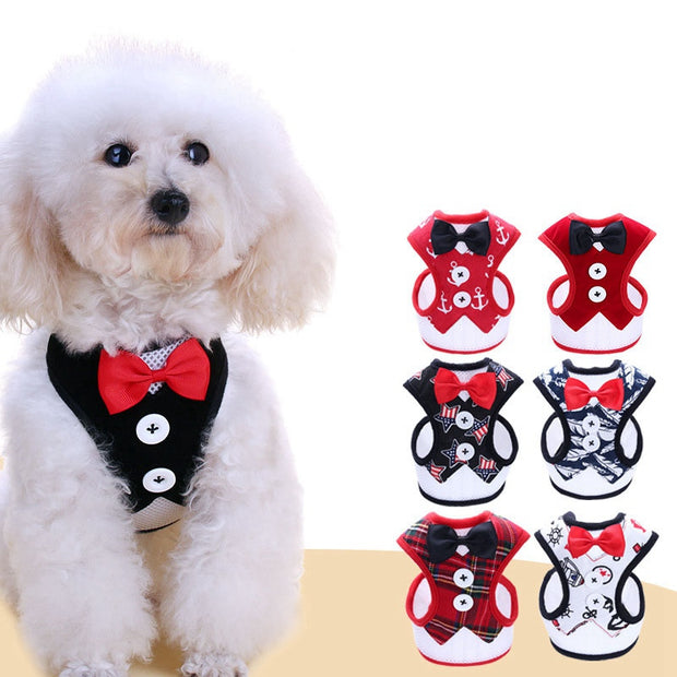 Cute Bowknot Cat Dog Harness Vest With Leash Bowtie Gentleman Suit Tuxedo Cute Bowknot Jacket+Leash Set For Daily Walking