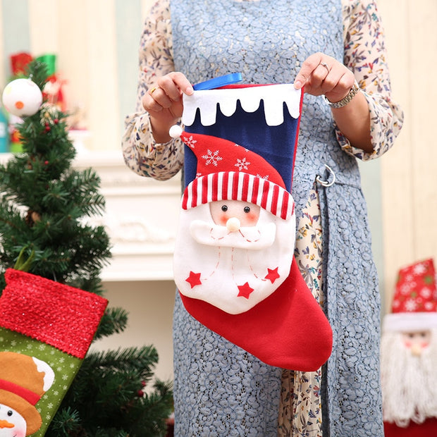 Cute Christmas Stocking Candy Gift Bags For Home Xmas Tree Decoration Hanging Ornament Santa Claus Snowman Reindeer Gift Holders