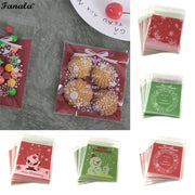 Cute Print Pattern Ziplock Cookies Bags Candy Red, Green Snowman, Snowflake, Old, Christmas Bow Bags