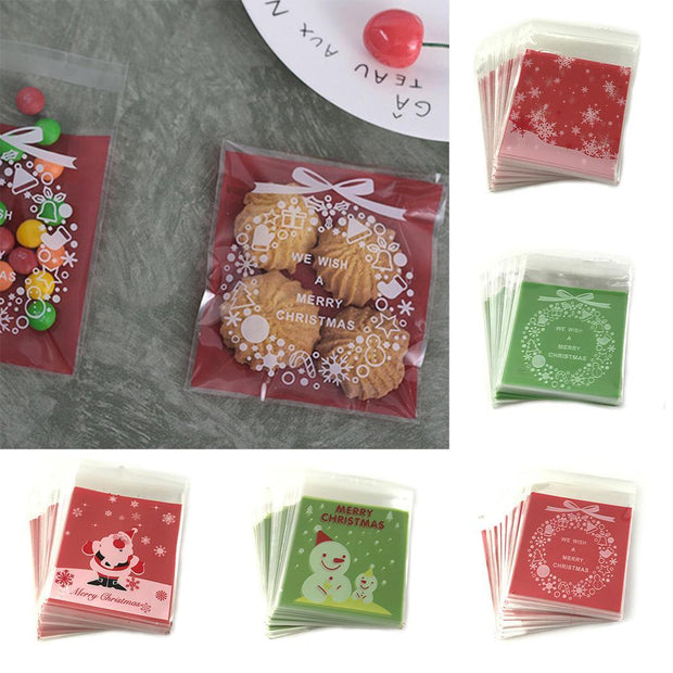 Cute Print Pattern Ziplock Cookies Bags Red, Green Candy Snowman, Snowflake, Old, Christmas Bow Bags