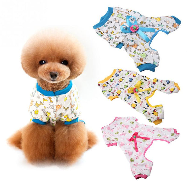 Cute Printed Pet Clothes Soft Pet Dog Pajama Breathable Comfortable To Wear For Puppy Dog Costume