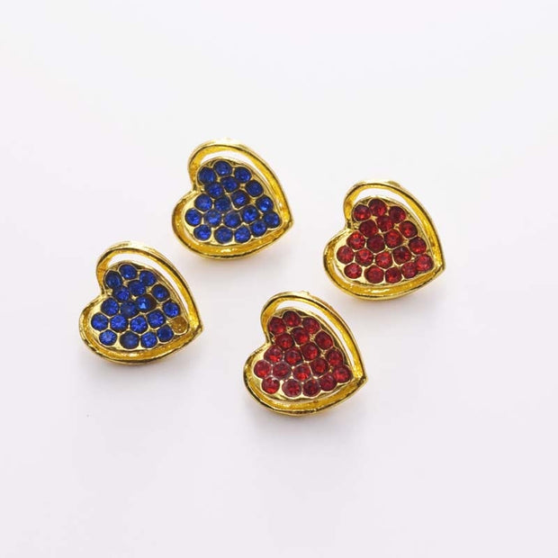 DIY 20pcs So Cute Heart Shape15mm Alloy Buttons Rhinestone Sew On Applique Gold Metal Wedding Applied For Garment Shirt HK-34
