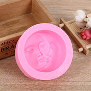 DIY 3D Handmade Silicone Soap Mold Moon Face Pattern Round Cake Mold Silicone Cake Mold Candle Holder Mold Silicone Moulds