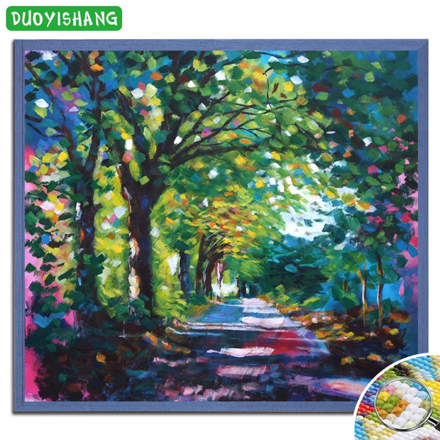 DIY Diamond Painting Scenery Full Square Diamond Embroidery Sale Landscape Colored Tree Mosaic Picture Of Rhinestones Handwork