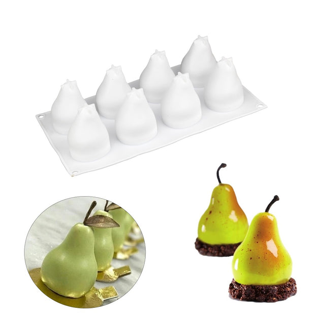 DIY Pear Shape 3D Silicone Cake Mold For Mousse Truffle Candle Mastic Mould Baking Pastry Tool Cake Confectionery Silicone Mold