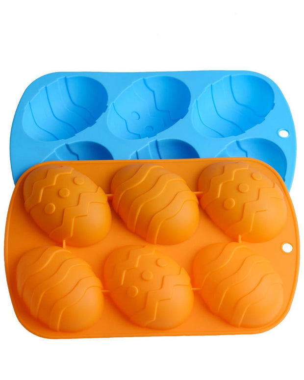 DIY Silicone Cake Mold Cake Mold Easter Egg Dessert Mold Egg Shape Baking Tools 6 Holes Handmade Soap Pudding Pastry Mould 5960