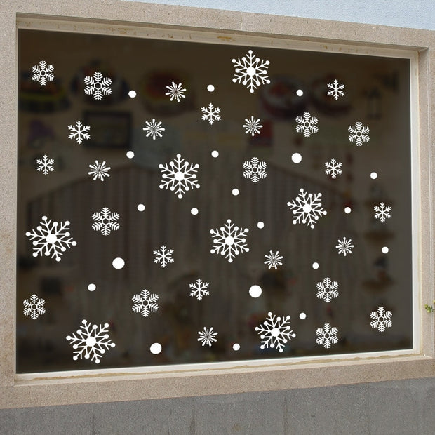 DIY White Snowflake Christmas New Year Glass Stickers Living Room Bedroom Glass Window Home Decoration Removable Wall Stickers