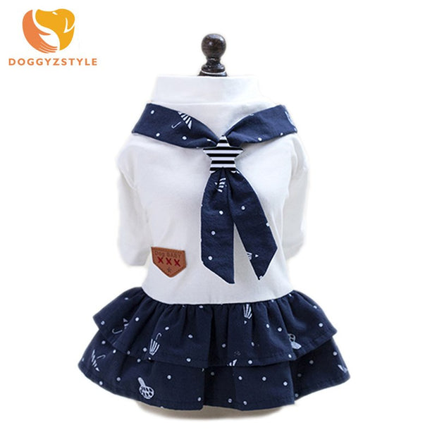 DOGGYZSTYLE Pet Dog Cute Navy Style Dress Pet Cat Puppy Dog Couple Costume Summer Dog Pet Overalls Dress For Small Dogs Cats