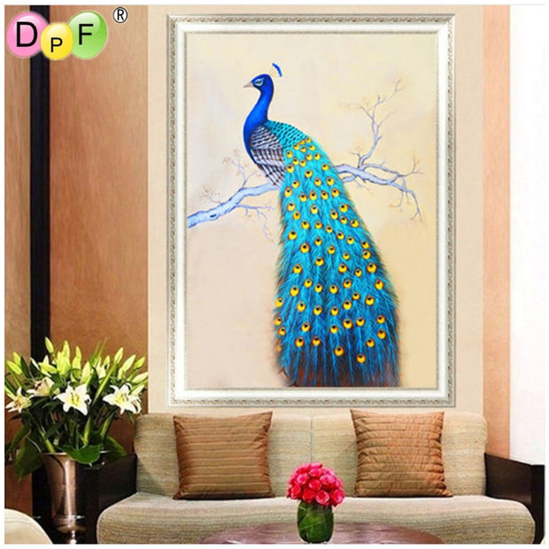 DPF 5D Diamond Embroidery Painting New Peacock Canvas Sticker Round Stone Cross Stitch Decorative Embroidery Life Picture