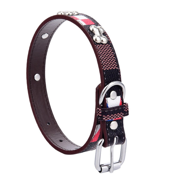 DSOFT Dog Collar Bone And Plaid Pattern Collar PU Material Collar All Season Quality Durable Dog Collar