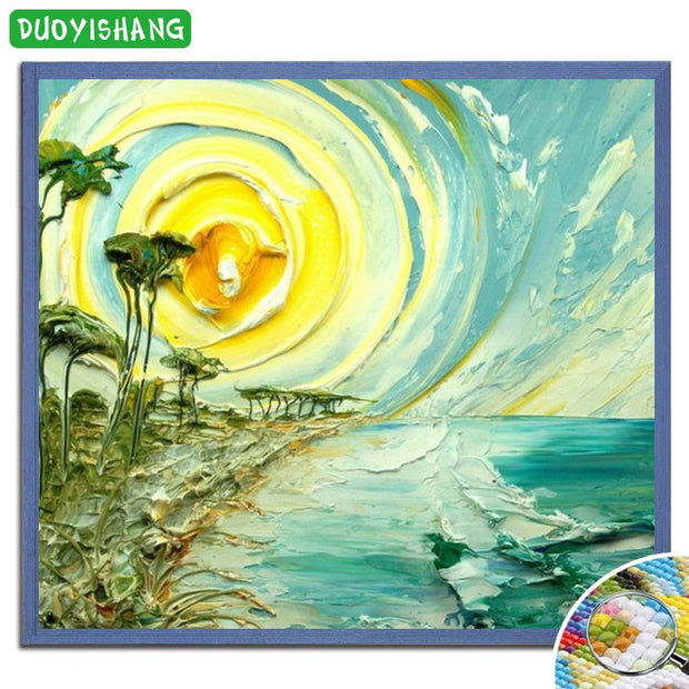DUOYISHANG 5D DIY Diamond Oil Painting Landscape Full Square Diamond Embroidery Mosaic Rhinestones Scenery Paintings Handwork