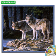 DUOYISHANG 5D DIY Diamond Painting Animals Wolves Full Square Diamond Embroidery Sale Mosaic Crystals Wolf Picture Needlework
