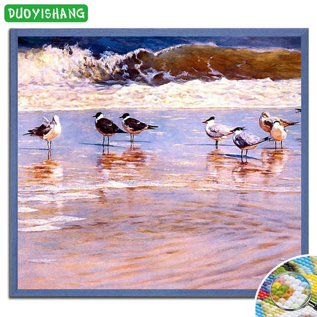 DUOYISHANG 5D DIY Diamond Painting Birds In The Seaside Diamond Embroidery Mosaic Sale Animals Paintings Rhinestone Decor Maison