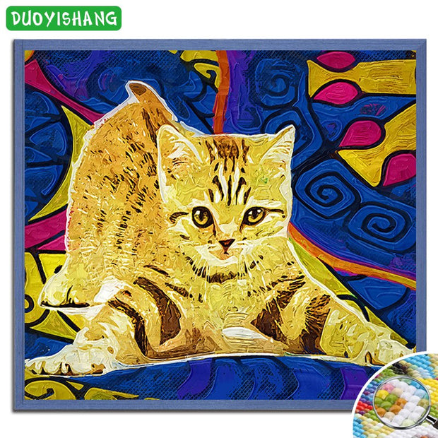 DUOYISHANG 5D DIY Diamond Painting Cat Full Square Diamond Embroidery Mosaic Animals Cat Pictures Of Rhinestones Needlework