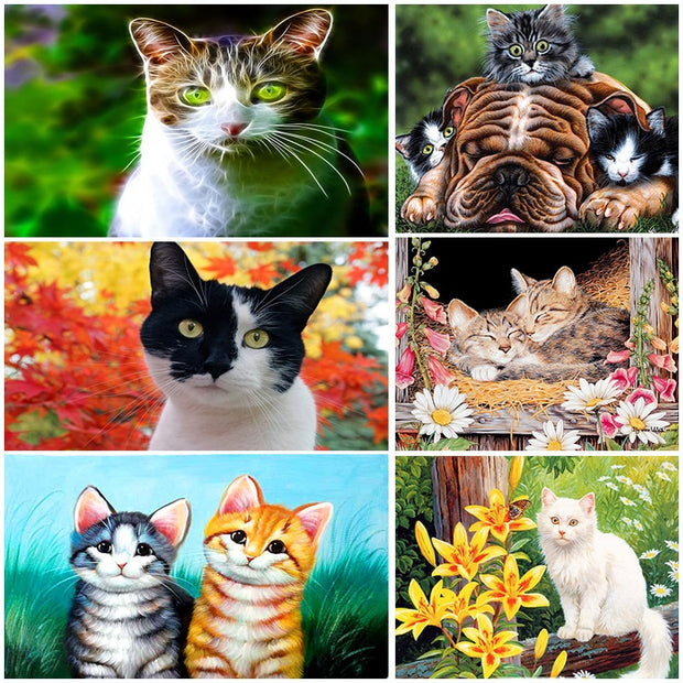 DUOYISHANG 5D DIY Diamond Painting Cat Full Square Diamond Mosaic Sale Animals Rhinestones Paintings Home Decoration Accessories