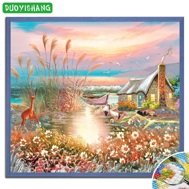 DUOYISHANG 5D DIY Diamond Painting Deer Full Square Diamond Embroidery Mosaic Rhinestones Animal Landscape Paintings Home Decor