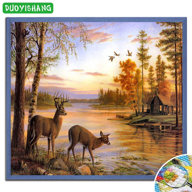DUOYISHANG 5D DIY Diamond Painting Deer In The River Full Square Diamond Embroidery Sale Mosaic Animals Rhinestones Painting