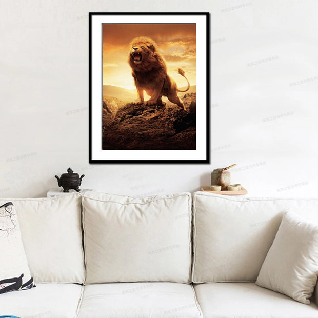 DUOYISHANG 5D DIY Diamond Painting Full Square Angry Lion Embroidery Sale Animals Lion Paintings From Crystals Mosaic Home Decor