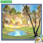 DUOYISHANG 5D DIY Diamond Painting Landscape Full Square Diamond Embroidery Sale Mosaic Rhinestones Oil Tree Painting Home Decor