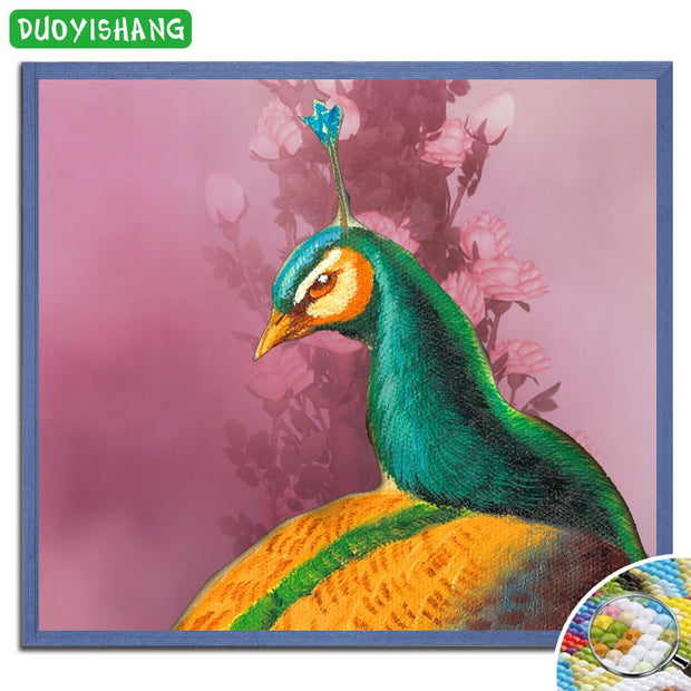 DUOYISHANG 5D DIY Diamond Painting Peacock Full Square Embroidery Diamond Mosaic Sale Animals Paintings Rhinestones Home Decor