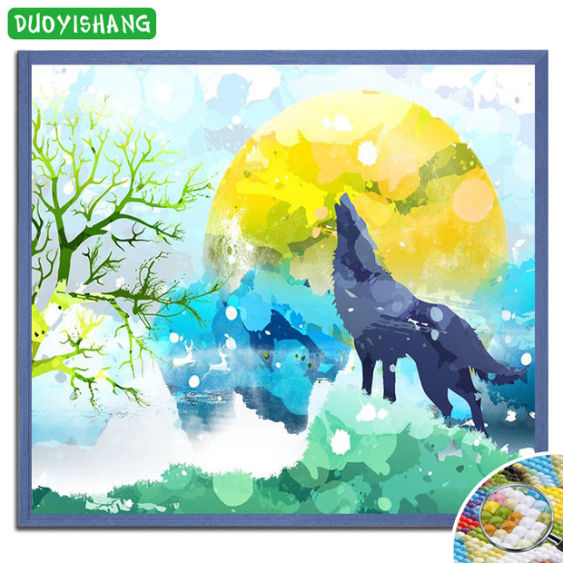 DUOYISHANG 5D DIY Diamond Painting Wolf Full Diamond Embroidery Sale Mosaic Animals Wolf Picture Of Rhinestones Home Decoration
